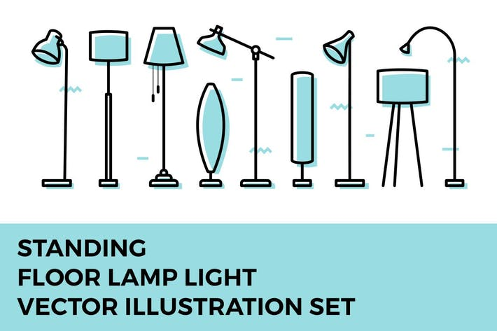 Thumbnail for Standing Floor Lamp Light Furniture Vector Set