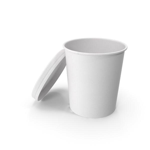 Белая бумага Food Cup с вентилируемой крышкой одноразовое ведро для мороженого 32 унции 900 мл Open