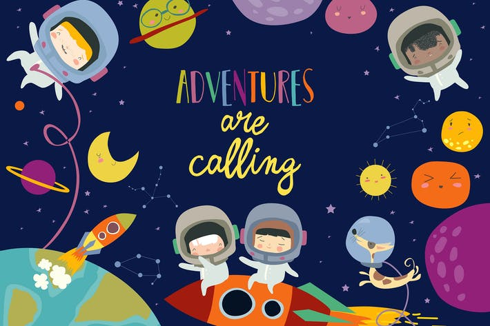 Thumbnail for Vector frame composed of girls ans boys astronauts
