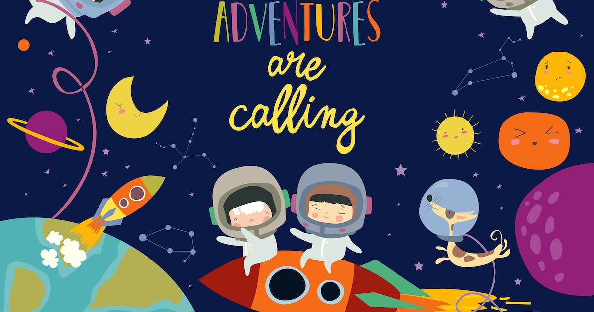 Download Vector frame composed of girls ans boys astronauts by masastarus