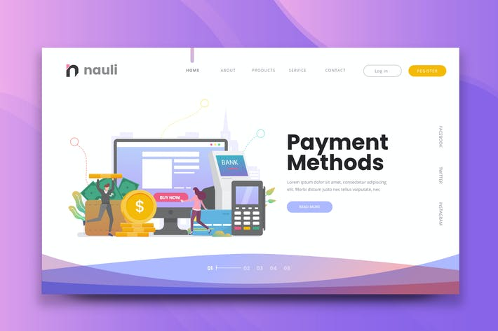 Thumbnail for Payment Methods Web PSD and AI Vector Template