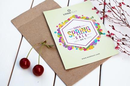 Buntes sechseckiges Frühlingsposter
