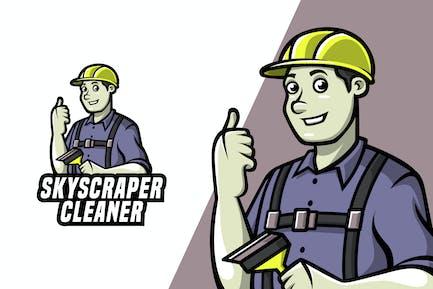Skyscraper Cleaner - Mascot Logo Template