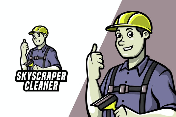 Thumbnail for Skyscraper Cleaner - Mascot Logo Template