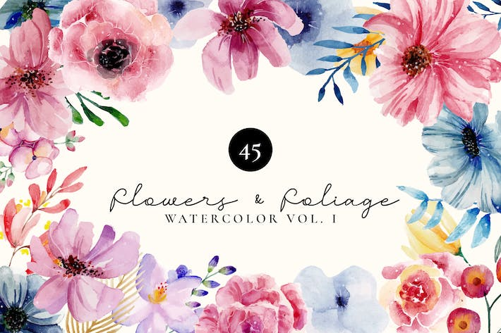Thumbnail for Flowers and Foliage Watercolor Set Vol 1