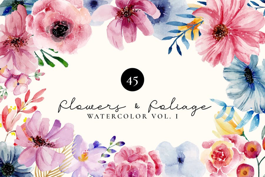 Flowers and Foliage Watercolor Set Vol 1