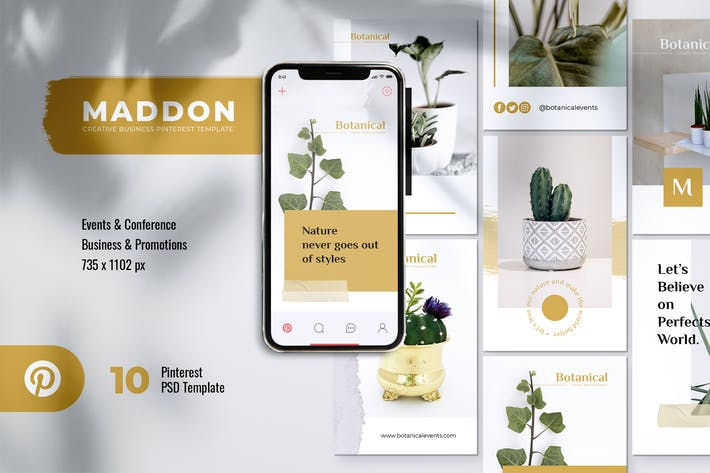 Thumbnail for MADDON Botanical Business Pinterest Template