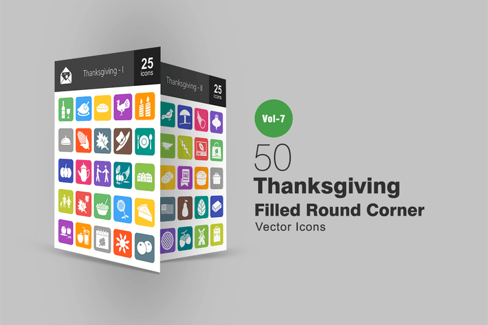 Thumbnail for 50 Thanksgiving Filled Round Corner Icons