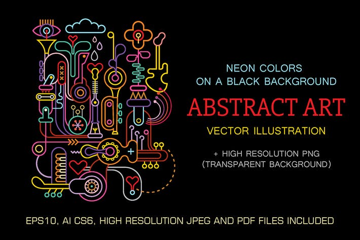 Thumbnail for Abstract art neon colors vector composition