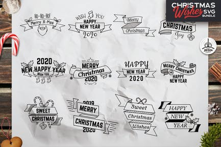 Retro Christmas Overlays, New Year Labels & Badges