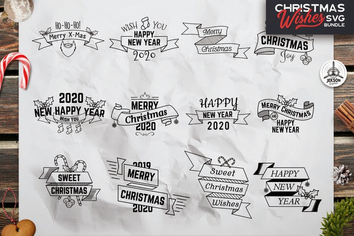 Thumbnail for Retro Christmas Overlays, New Year Labels & Badges