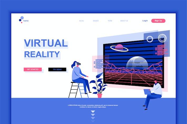 Thumbnail for Virtual Reality Flat Landing Page Template