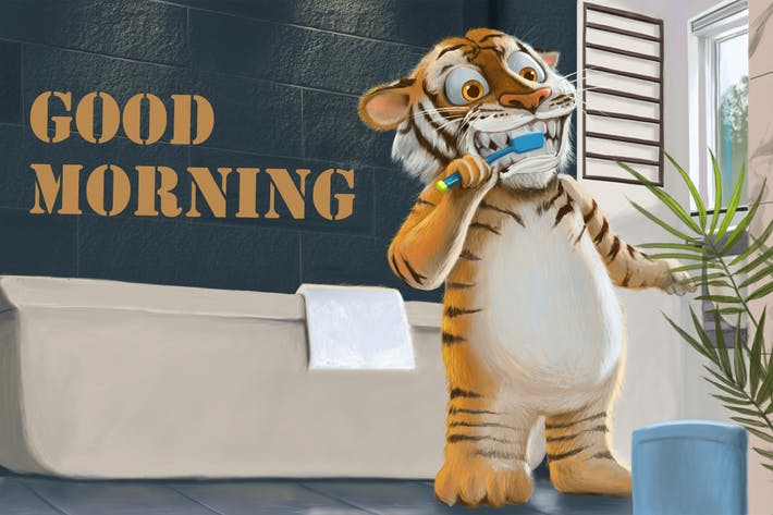 Thumbnail for Tiger Brushing Teeth Hand Drawn Digital Painting