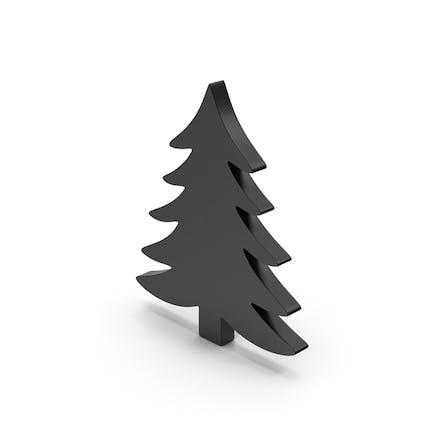 Símbolo negro árbol de pino
