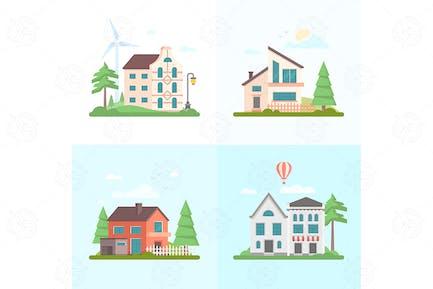 Nice buildings - set of flat design illustrations