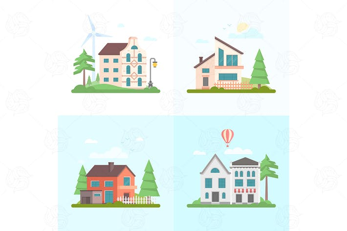 Thumbnail for Nice buildings - set of flat design illustrations