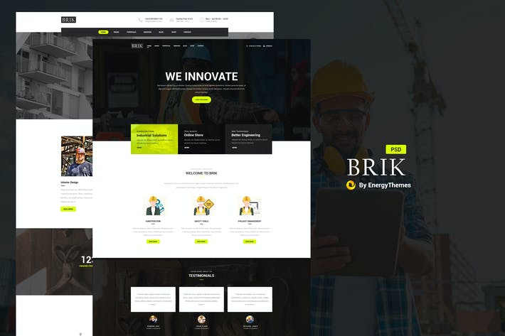 Cover Image For Brik - Construction & Building PSD Template