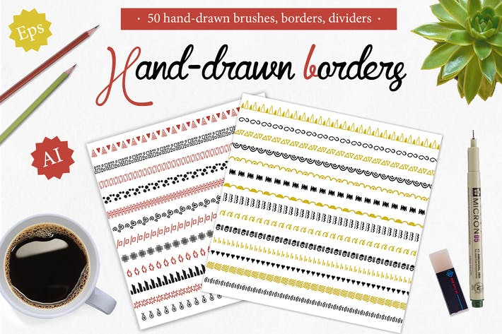Thumbnail for 50 handdrawn brushes, borders, dividers