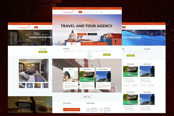 Thumbnail for Travel And Tour Agency Website PSD Template