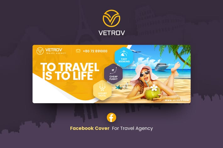 Thumbnail for Vetrov - Plantilla de portada de Facebook de Agencia de Viajes