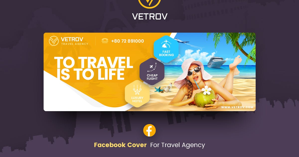 Download Vetrov - Travel Agency Facebook Cover Template by Last40