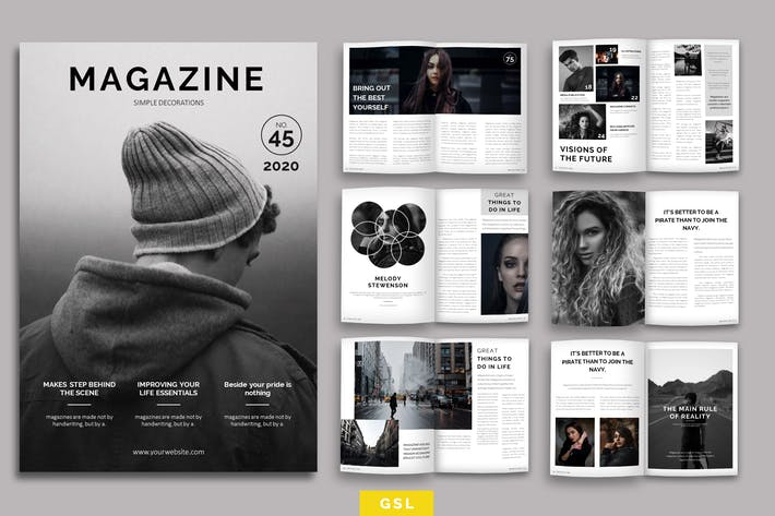 Thumbnail for Magazine Layout Google Slides Template
