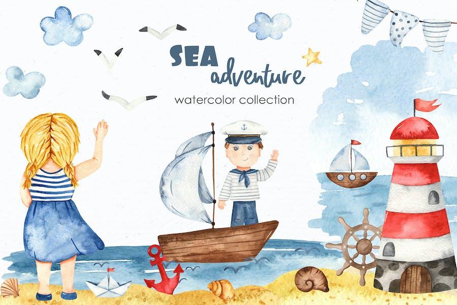 Watercolor Sea adventure Clipart