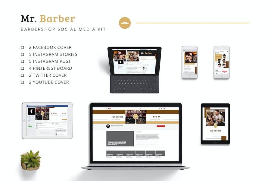 Mr Barber Barbershop Social Media Kit