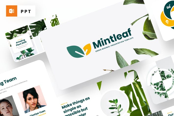 Thumbnail for Mintleaf - Minimal Green Powerpoint Template