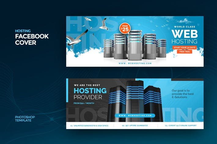 Thumbnail for Hosting Facebook Cover Template