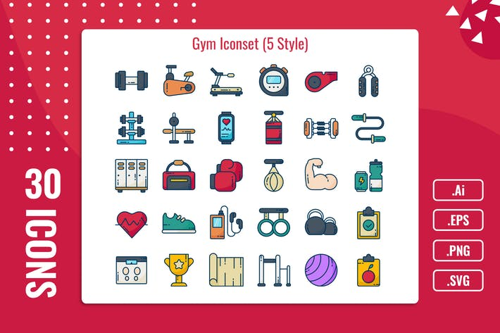 Thumbnail for 30 Iconset Gym with 5 styles variant