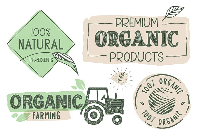 Cover Image For Organic Food Labels and Stickers Collection
