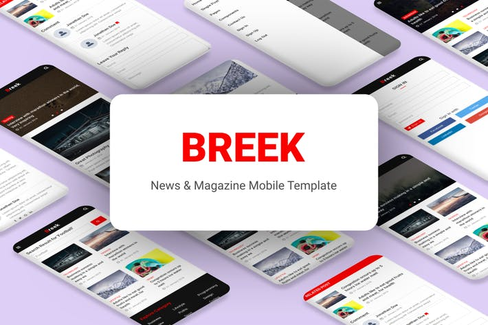 Thumbnail for Breek - News & Magazine Mobile Template