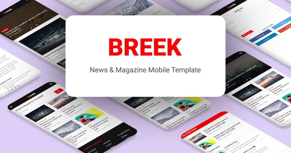Download Breek - News & Magazine Mobile Template by aStylers
