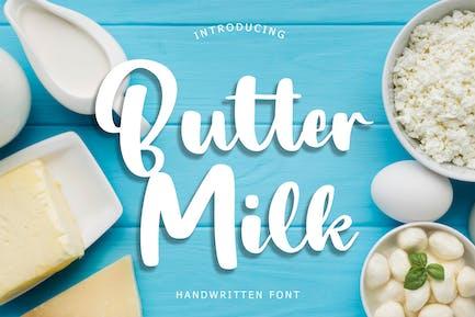 Fuente manuscrita de leche de mantequilla