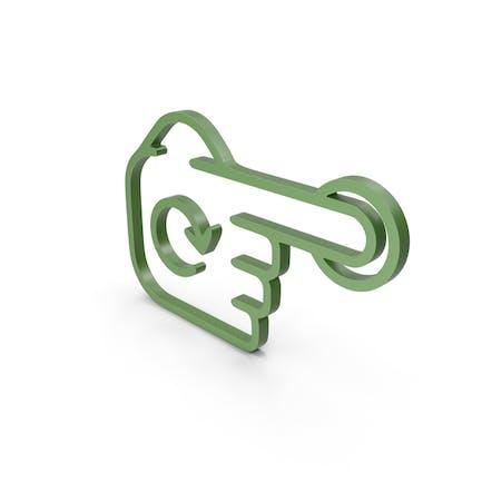 Icono verde girar dedo