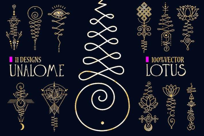 Thumbnail for 11 Unalome & lotus Sacred symbols
