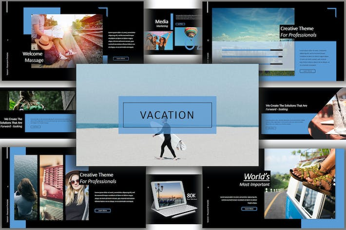 Thumbnail for Vacation Lookbook Dark Powerpoint Template