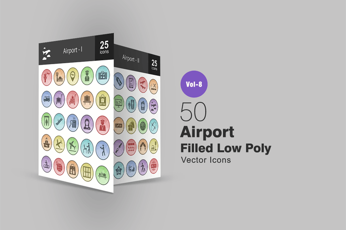 Thumbnail for 50 Airport Filled Low Poly Icons