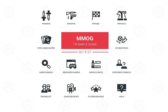 Cover Image For MMOG - modern vector line design icons set