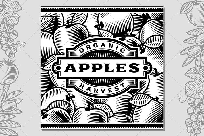 Thumbnail for Retro Apple Harvest Label Black And White