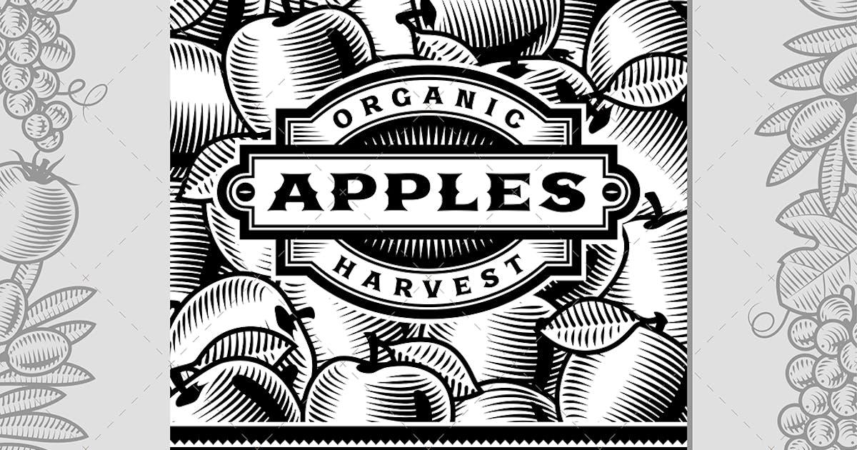 Download Retro Apple Harvest Label Black And White by iatsun