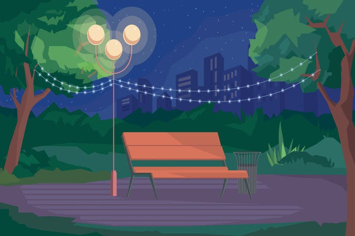 Thumbnail for Park At Night - Illustration Background