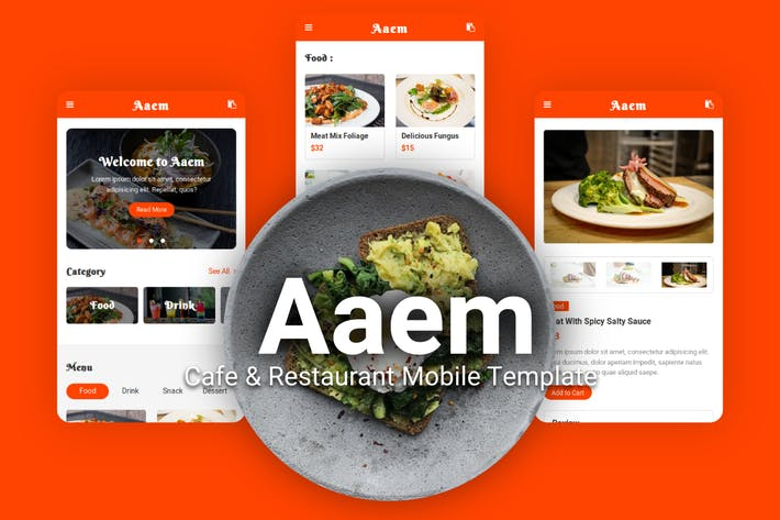 Thumbnail for Aaem - Cafe & Restaurant Mobile Template