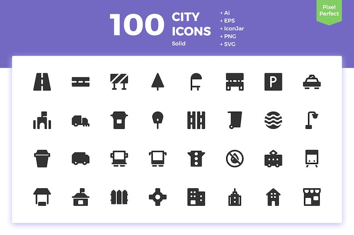 Thumbnail for 100 City Icons (Solid)