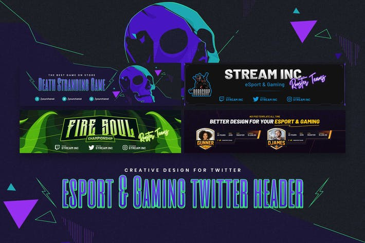 Thumbnail for eSport & Gaming Twitter Header PSD Template