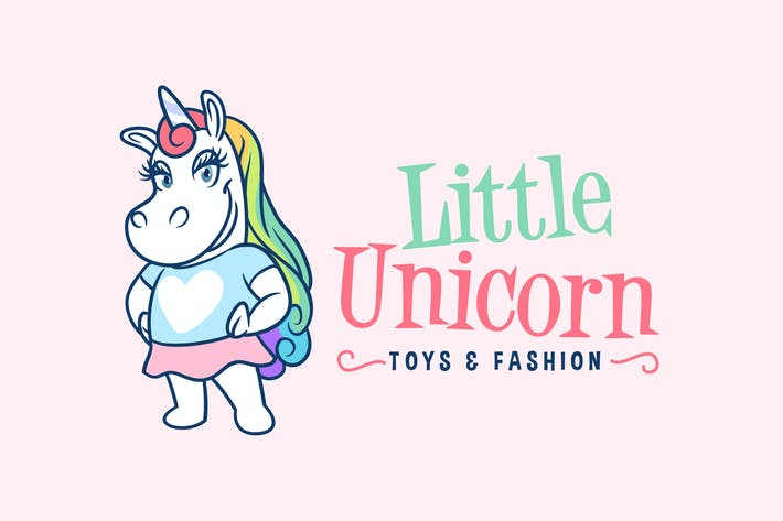 Thumbnail for Little Unicorn Girl Mascot Logo