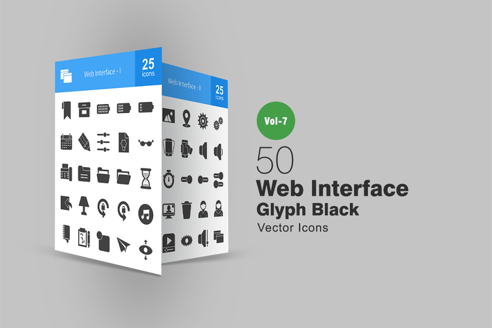 Thumbnail for 50 Web Interface Glyph Icons