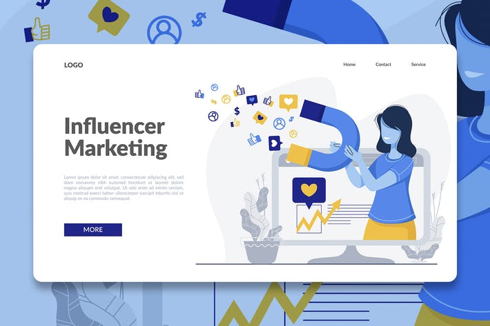 Thumbnail for Influencer Marketing Landing Page Illustration