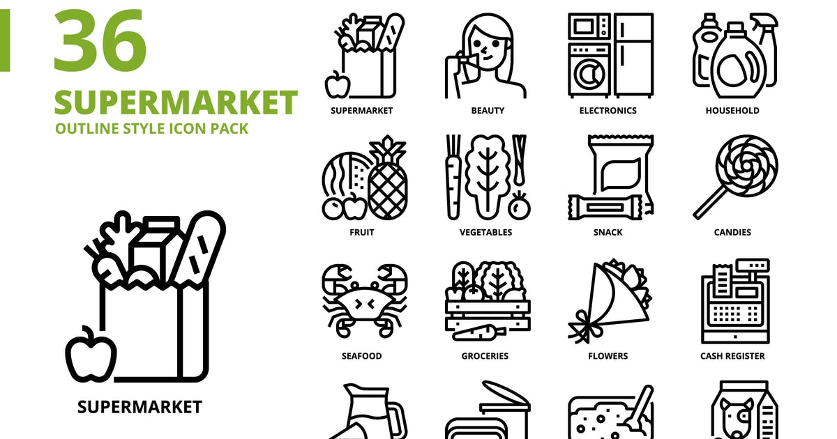 Download Supermarket Outline Style Icon Set by monkik